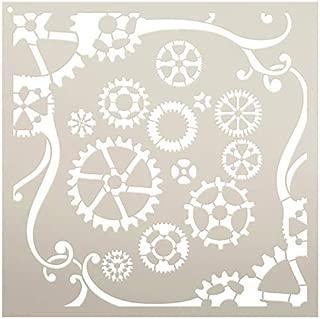 Gear Clockwork Stencil by StudioR12 | Reusable Mylar Template | Paint Wood Sign | Craft Rustic Swirl Pattern Wall Art | DIY Steampunk Cog Home Decor Gift - Journal - Scrapbook | Select Size Small XLG