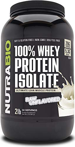 NutraBio 100% Whey Protein Isolate - Complete Amino Acid Profile - 25G of Protein Per Scoop - Soy and Gluten Free - Zero Fillers, Non-GMO, Protein Powder - Unflavored, 2 Pounds
