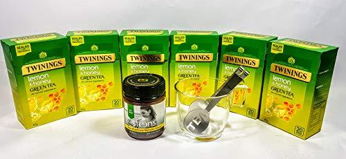 Té verde miel limón infusión con Steens MGO crudo sin pasteurizar Nueva Zelanda Manuka Miel, taza y cuchara