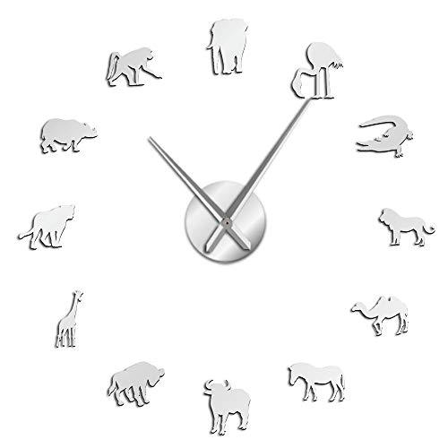 VCS Animales africanos Silueta Pegatinas de Pared Africano DIY Arte de Pared Gran Reloj de Pared Safari Fauna Animal Gigante decoración de Pared Reloj(Plata,120CM)