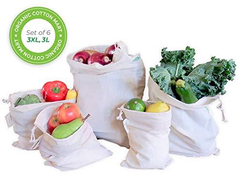 Reusable Bulk Bin Bags for Bulk Foods - Reusable Dry Goods Bags - Cloth Kitchen Bags - Organic Cotton Reusable Muslin Produce Bags - Home Storage Bags - Toy Bags (3 Large, 3 X-Large)