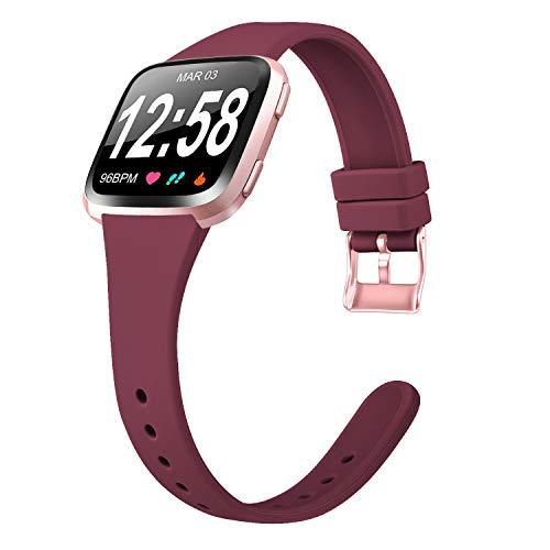 Amzpas Compatible con Fitbit Versa Correa/Fitbit Versa Lite Correa, Banda Inteligente de Repuesto de Silicona Suave, Delgada, Delgada y pequeña para Fitbit Versa (01 Rojo Viento, S)