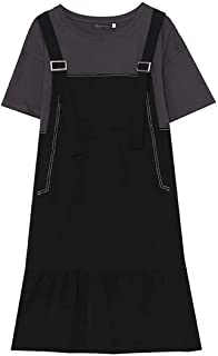 فستان Wshizhdfu ، مقاس إضافي فستان للنساء مرقعة فضفاض قصير الأكمام ملابس الشارع الخفيفة (مقاس XXXX-Large)