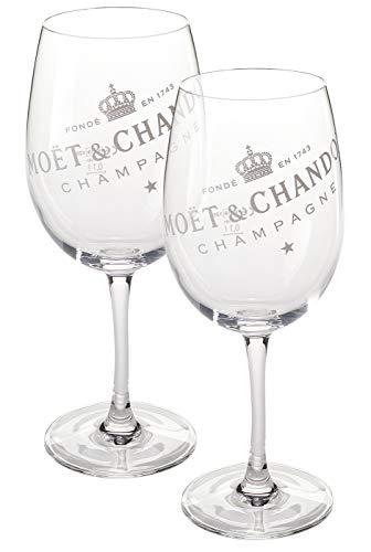Moët & Chandon 2-delige set champagne Big glas (doorzichtig) glazen Ice Imperial echt glas helder met witte letters