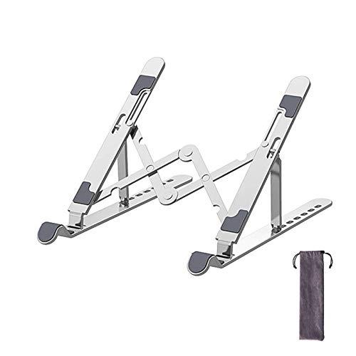 Soporte para portátil, soporte para portátiles de escritorio de ventilación universal, elevador portátil plegable portátil con 7 ángulos altura, montaje de la tableta de aleación de aluminio ventilado