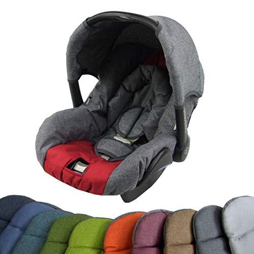 BAMBINIWELT Ersatzbezug für Maxi-Cosi CITI SPS 6-tlg, Bezug für Babyschale, Komplett-Set (grau-rot)