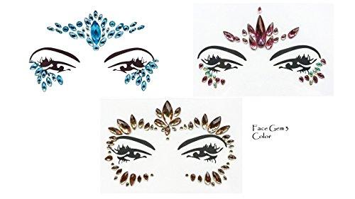 Gem Sticker - Pegatinas de piedras preciosas, para cara y cuerpo, maquillaje brillante, para fiestas, festivales y shows, juego de 3 piezas coloridas.