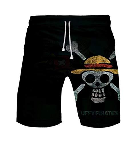 WANHONGYUE Anime One Piece Monkey D Luffy Pantaloncini da Spiaggia Costume da Bagno Uomo 3D Stampato Beach Board Shorts Swim Trunks 1108/15 XXL