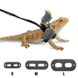 Bearded Dragon Harness and Leash Adjustable (S, M, L, 3 Pack), Berdid Dragon Accessories - Soft Leather Reptile Lizard Leash with Cool Wings for Amphibians, Iguana, Leopard Gecko and Small Pet Animals