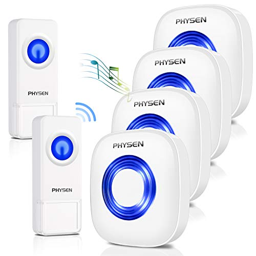 Wireless Doorbell PHYSEN Door Bells & Chimes Wireless with Mute Mode,58 Doorbell Chime, 5 Volume Levels,1000-ft Range,4 Receivers & 2 Doorbell Button for Home with LED Strobe – Model CW