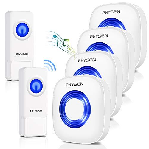 Wireless Doorbell PHYSEN Waterproof Door Bell -1000 Ft Range,4 Plug-In Doorbell Receivers 2 Push Button, 52 Door Bell Chimes,4 Volume Levels with LED Flash for Large Home/Classroom/Business– Model CW