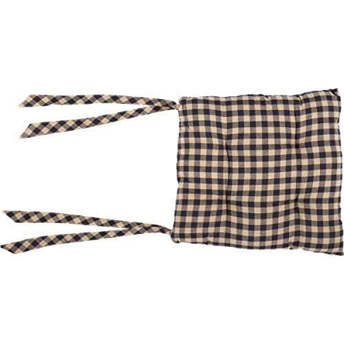 VHC Brands Black Check Chair Pad Country Rustic Design, Black and Tan