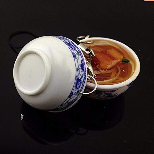 JJrainning Sleutelhanger 4,2 cm * 2 cm Blauw en wit porselein voedsel kom mini zak hanger simulatie voedsel sleutelhanger noodles sleutelhanger
