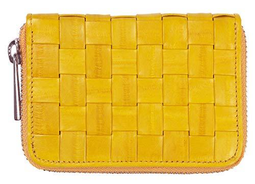 Becksöndergaard Damen Geldbörse Braidy Purse Classic Portemonnaie aus 100% Leder Geflochten mit Reißverschluss (Yellow)