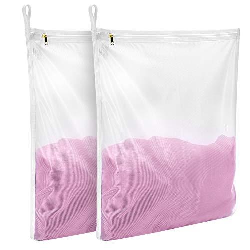 Gogooda Delicates Laundry Bags Fine Mesh Wash Bag for Lingerie Underwear Bra Silk Socks with Hanging Loop 2 set2M