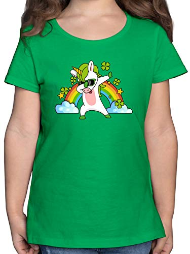 Anlässe Kinder - Dabbendes Einhorn Kleeblatt Regenbogen - 104 (3/4 Jahre) - Grün - Irland - F131K - Mädchen Kinder T-Shirt