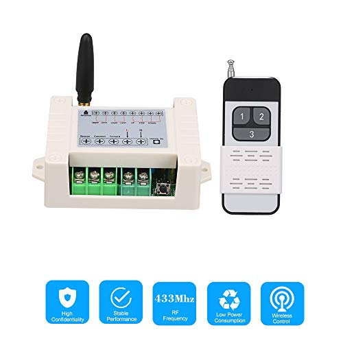 OWSOO AC85-250V 10A 2CH 433Mhz Motor Remote Control Switch Motor Forwards Reverse Up Down Stop Wireless TX RX Limited Switch Module and 2PCS RF Transmitter Remote Controls