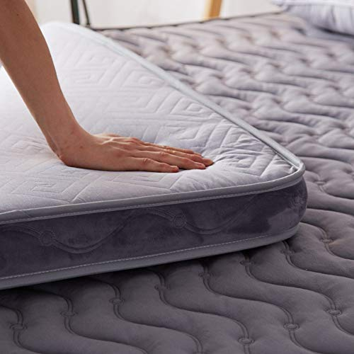 JY&WIN Memory foam Mattress,Padded Keep warm Tatami Rolled Mattress Foldable Suede Breathable Bedding-gray 120x200x10cm