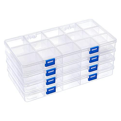 BENECREAT 4 Pack 15 Grids Kunststoff Aufbewahrungsbox Schmuck Organizer Mit Verstellbaren Trennwänden, Haken Design Großer Durchsichtiger Kunststoffperlen Aufbewahrungsbehälter (28.5x15.5x3cm)