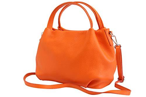 AmbraModa Damen handtasche Henkeltasche Schultertasche aus Echtleder GL023 (Orange)