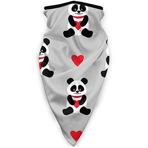 Cute Pandas and Hearts Outdoor Windproof Sports Scarf Cold Scarf Neck Warm Headband Headscarf
