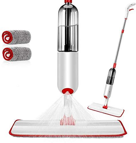 MASTERTOP Spray Mop Sprühwischer mit 500 ml Wassertank und 2 Mikrofaser-Pads, Wischer mit Sprühfunktion, Bodenwischer für Hartholz, Fliesen, Laminat, Marmor (Rot, Weiß)