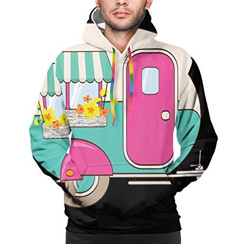 Hangdachang Nettes rosa und türkisfarbenes Wohnmobil. Fenster mit Markise und Blumenkästen. Unisex 3D Neuheit Hoodies Pullover Sweatshirt Taschen Weihnachten XL