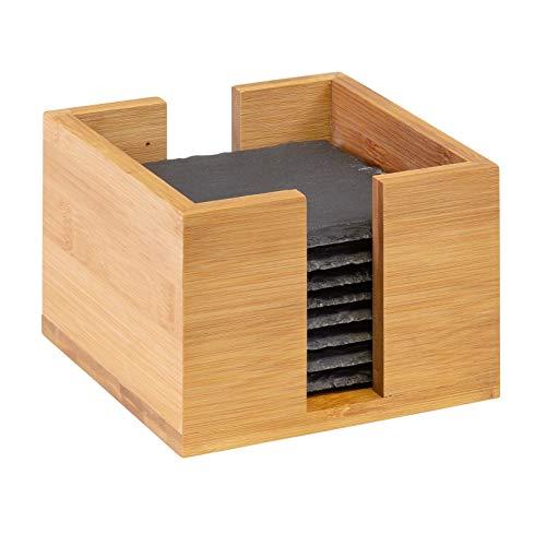 Westmark 8 Naturschiefer-Glasuntersetzer in Bambusbox, quadratisch, mit Kratzschutz, 10 x 10 cm, Schiefer/Bambus, Tapas + Friends, Anthrazit/Hellbraun, 69232260