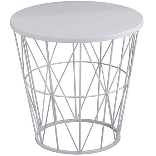 Piushopping Tavolino da Salotto, d'Appoggio, Moderno Rotondo, Bianco Lucido in Metallo, Basso - 45x45x45h