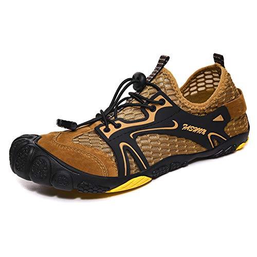 FITORY Zapatilla de Barefoot Mujeres Hombres Seco Rápido Zapatos de Deportes Acuaticos Trail Running Exterior Respirable Zapatos de Agua Unisex-Adulto Caqui 36 EU