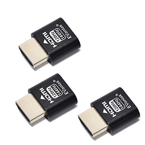EVanlak HDMI ヘッドレス (高レート240) HDMI ダミープラグ ヘッドレスゴースト ディスプレイ エミュレーター ブラック 3個