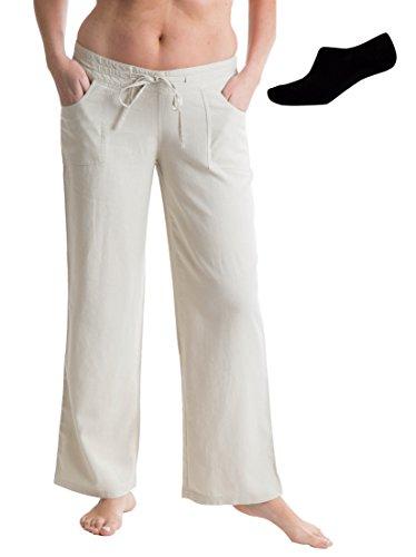 Octave® Damen Leinenhose und unsichtbare Liner Socken Paket Gr. 36, stone