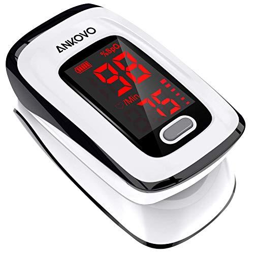 Pulsoximeter, Sauerstoffsättigung messgerät finger, ANKOVO Pulsfrequenz und SpO2-Wert mit Umhängeband und Batterien, große LED-Anzeige, für Haushalt, Fitness und Extremsport