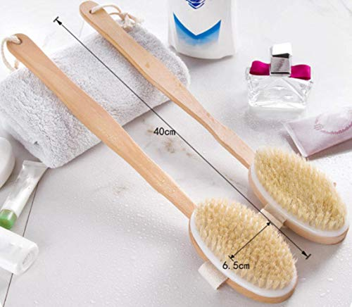 Bath Body Brush Natural Bristles Scrubber Body Massage Brush With Long Handle Wood For Dry Brushing and Shower Body Brush, Brown, États-Unis