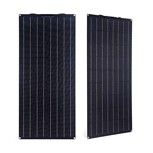 LJYLF 100W Semi-Flexible Monocrystalline PV Solar Panel, ECO-WORTHY Portable Thin Film Solar Panels, for RV, Boat, Tent, Car, Trailer, 12v Battery or Any Other Irregular Surface,Black