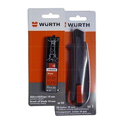 Würth Cuttermesser Teppichmesser inkl. 3 Abbrechklingen und 10 zusätzlichen Abbrechklingen, B00BQWBDHU