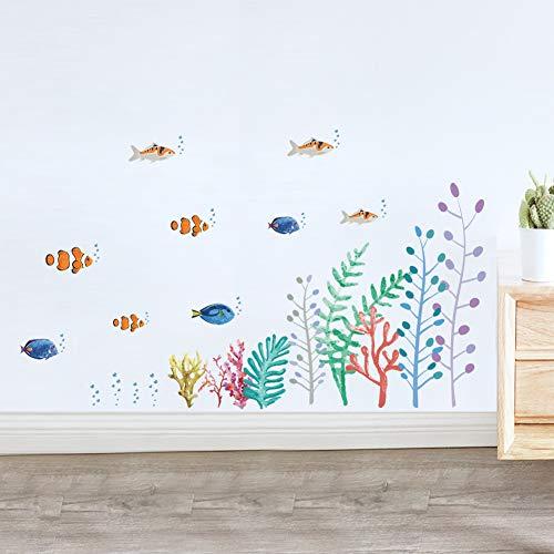 SFSDF Tier Meeresboden Koralle Fischschwarm Wandaufkleber Dekorative Aufkleber Wohnkultur Küchenfenster Wohnzimmer Dekor Kunst Aufkleber 70 * 25CM