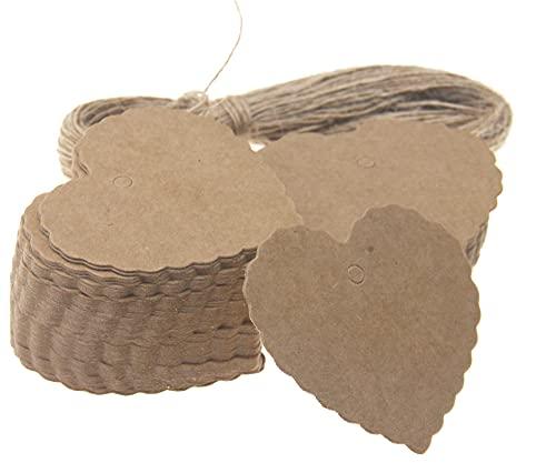 Etiquetas de forma de corazón marrón,Etiquetas de papel Kraft,Mini tarjetas de felicitación,100pcs equipaje en blanco Lebels con cadena