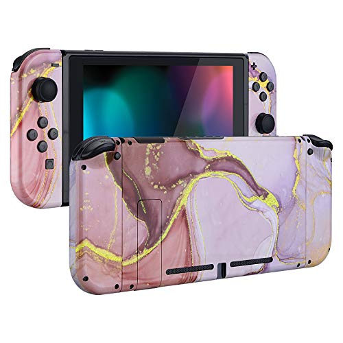 eXtremeRate Hülle Case Schutzhülle Schale Tasche Gehäuse Zubehör Kit für Nintendo Switch Konsole, NS Joycon Controller mit Buttons, DIY-Ersatzschale für Nintendo Switch(Pink Gold Marmor Optik)