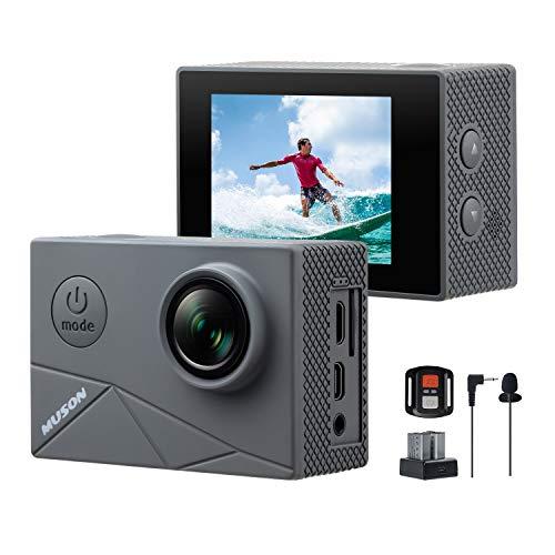 【進化版】MUSON(ムソン)MAX1アクションカメラ4K高画質40M防水EIS手ぶれ補正WiFi搭載SONYセンサー170度超広角レンズ1350mAhバッテリー2個外部マイク対応リモコン付きHDMI出力2インチ液晶画面アクションカムスポーツカメラ水中カメラ防犯カメラ[メーカー1年保証]