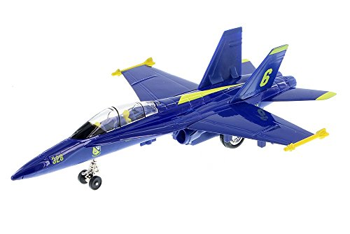 Playmaker Toys 9' X-Planes US Navy F-18 Hornet Blue Jet Toy with Pull...