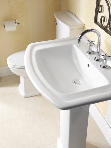 Barclay 3-398WH Washington 550 Vitreous China Pedestal Lavatory with 8-Inch Widespread