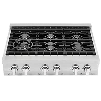 Cosmo COS-GRT366 Slide-in Counter Gas-Cooktop 6 Italian-Made Burner Range-Top, Dual Ring Stove, Dishwasher-Safe Cast Iron Grate, Metal Front Knob Control Panel, 36 inch, Stainless Steel