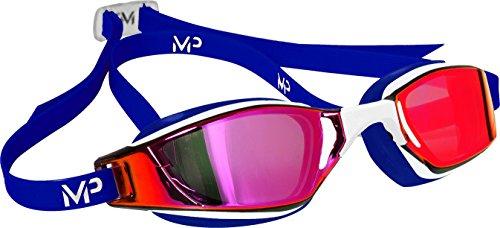 MP Michael Phelps Unisex– Erwachsene XCEED Schwimmbrille Titanium Gläser in Rot - Weiß/Blau One Size