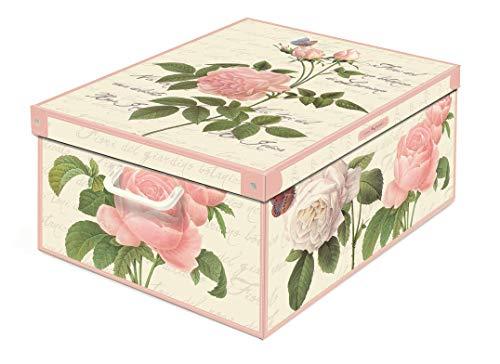 Collection Rose, Caja de almacenaje en Carton, Montaje facil 50 x 39 x 24 cm, Rosas, Grande