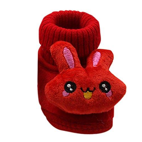 Mingfa Warme Winter-Wanderstiefel Baby Mädchen Niedlich Kaninchen Weich Rutschfeste Sohle Kleinkinder Schneestiefel Hausschuhe Age:0~6 Month rot