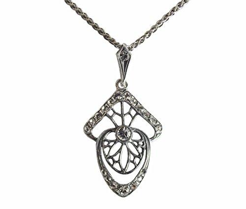 Damen Jugendstil Halskette 925 Silber Swarovskikristalle anmutig