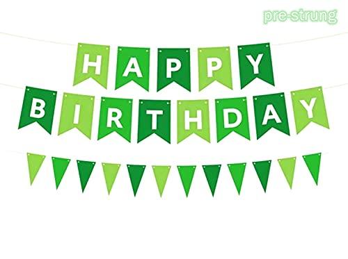 Happy Birthday Banner grün Happy Birthday Wimpelkette Banner Girlande Party Dekoration für Jungen Mädchen Erwachsene Geburtstag Party Dekorationen Fotohintergr&