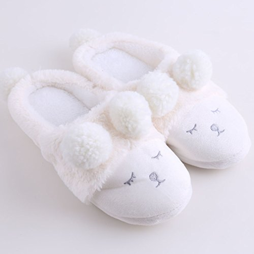 Meolin Damen Innen Warm Fleece Hausschuhe Cute Cartoon Winter Soft Cozy Hausschuhe 8.5 Weiß
