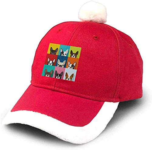 GGdjst Weihnachtsmützen, Drbgohkyre Designs Dog,Funny Boston Terrier Face Art Portrait Icon Cotton Linen Christmas Hats Red Santa Baseball Cap for Kids Adult Families Celebrate New Year Party